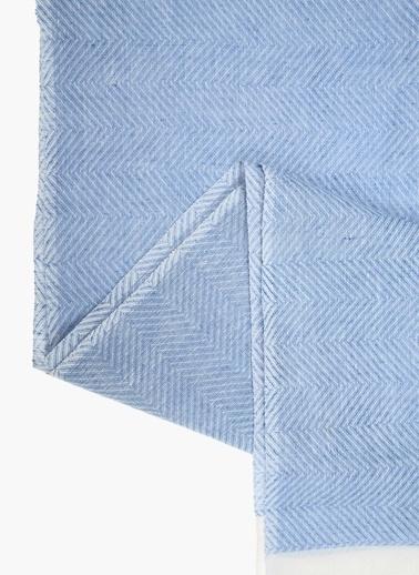 Divarese Divarese 5021575 Desenli Unisex Keten Şal Mavi